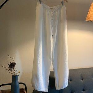 Soft Surroundings 100% linen cream colored pants